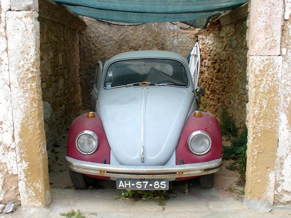 VW-Beetle-In-Open-Garage